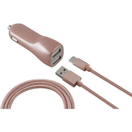 Todoelectro.es cargador dual coche 2.1a más cable usb-micro usb metalitzado rosa conbxcru2mr