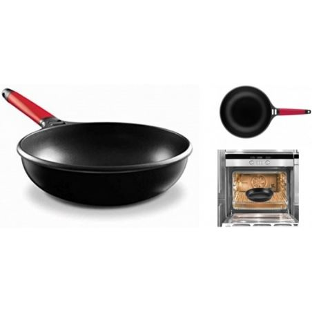 Castey wok induction con mango rojo 28 cm 2iw28