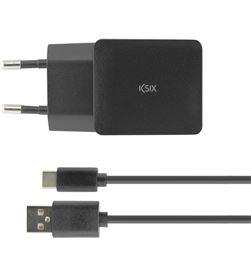 Ksix CONBXCDC04 cargador pared 2.4a usb + cable usb a tipo c de 1m negro - 8427542095974
