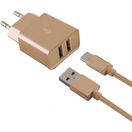 Todoelectro.es cargador pared metal 2xusb 2.4 amp +cable tipo c oro conbxcd2u2cd