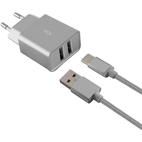 Todoelectro.es cargador pared metal 2xusb 2.4 amp +cable tipo c plata conbxcd2u2cp