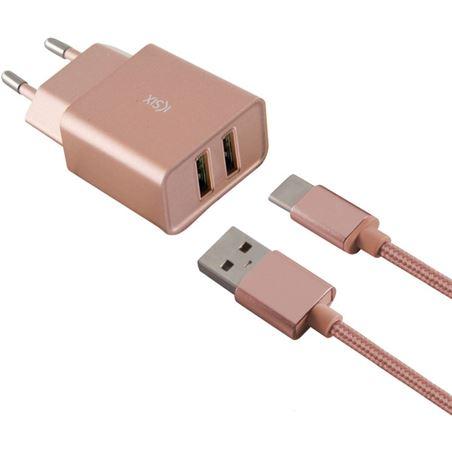 Todoelectro.es cargador pared metal 2xusb 2.4 amp +cable tipo c rosa oro conbxcd2u2cr