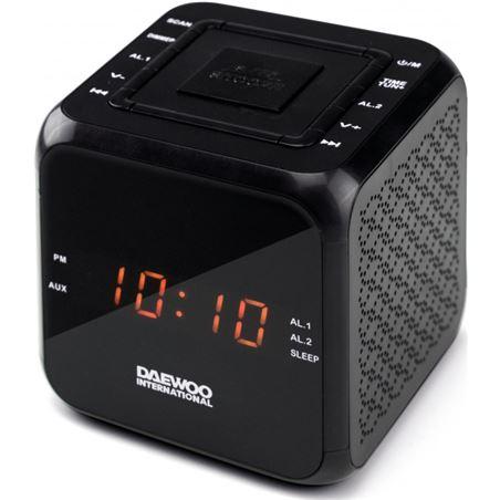 Reloj despertador Daewo DCR450B, diseño cubo negro