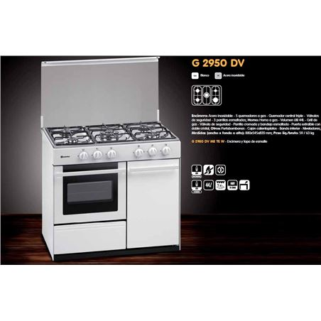 Cocina gas Meireles G2950DVW but 5f 91cm blanca