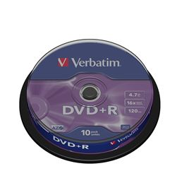 Dvd+r Verbatim advanced azo 16x 4.7gb tarrina 10 unidades 43498 - VERDVDMASR-10