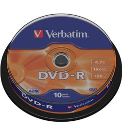 Dvd-r Verbatim advanced azo 16x 4.7gb tarrina 10 unidades VERDVD+R10 - VERDVD-R-10