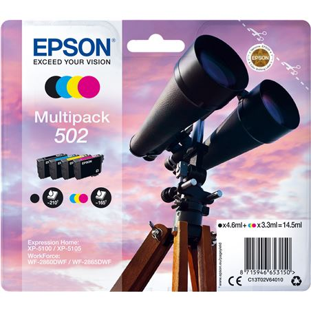 Cartucho tinta Epson multipack 502 - negro (4.6ml) /cian / magenta / amaril C13T02V64010 - EPS-C13T02V64010