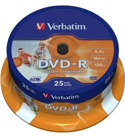 Tarrina 25 unidades Verbatim 43538 - dvd-r - 16x - 4.7gb - printable - VERB-DVD 43538