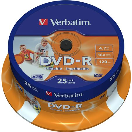 Tarrina 25 unidades Verbatim 43538 - dvd-r - 16x - 4.7gb - printable - VERB-DVD 43538