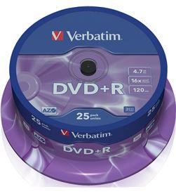 Bobina 25 dvd+r Verbatim 4,7 gb 16x VERDVDMASR_25 Almacenamiento de datos - 023942435006