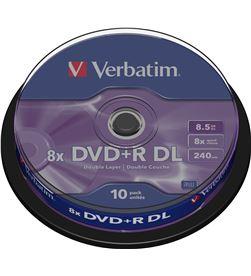 Dvd+r doble capa Verbatim advanced azo 8x 8.5gb tarrina 10 unidades 43666 - VERB-DVD+R DC 8.5GB 10U