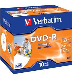 Verbatim B-DVD-R 4.7GB 10U IMP dvd-r imprimible pack 10 uds 16x jewel case 43521 - VERB-DVD-R 4.7GB 10U IMP